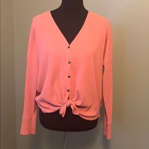 Abercrombie & Fitch tie front coral button down